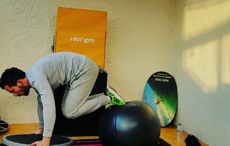 Gainage dynamique sur Swissball et Bosu